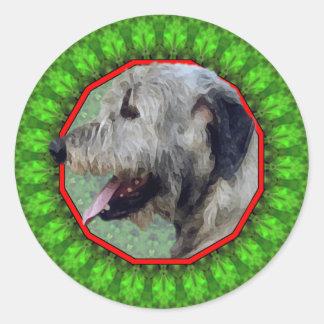 Irish Wolfhound Happy Howliday Classic Round Sticker