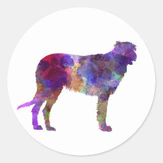 Irish Wolfhound in watercolor Classic Round Sticker