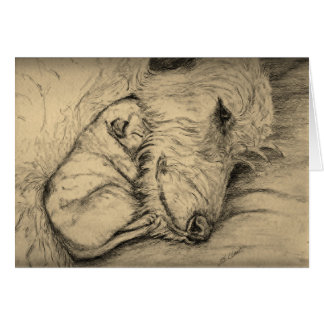Irish Wolfhound Mother and Puppy Card