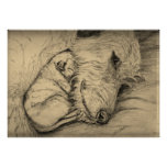Irish Wolfhound Mother and Puppy Poster