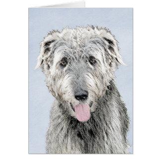 Irish Wolfhound Painting - Cute Original Dog Art Card