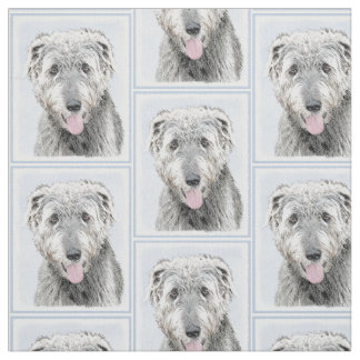 Irish Wolfhound Painting - Cute Original Dog Art Fabric