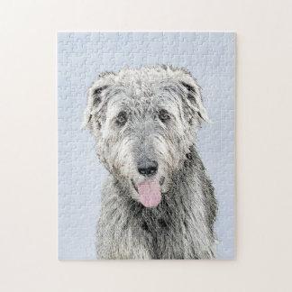Irish Wolfhound Painting - Cute Original Dog Art Jigsaw Puzzle