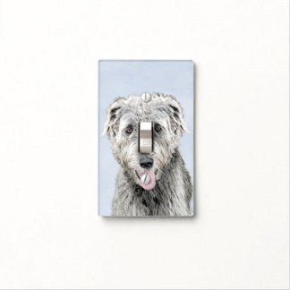 Irish Wolfhound Painting - Cute Original Dog Art Light Switch Cover