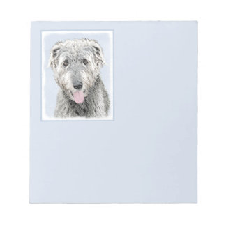 Irish Wolfhound Painting - Cute Original Dog Art Notepad