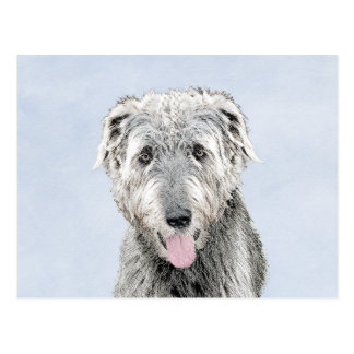 Irish Wolfhound Painting - Cute Original Dog Art Postcard