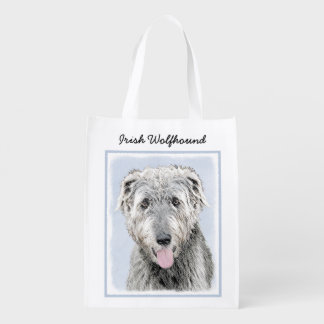 Irish Wolfhound Painting - Cute Original Dog Art Reusable Grocery Bag