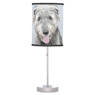 Irish Wolfhound Painting - Cute Original Dog Art Table Lamp