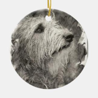 Irish Wolfhound perfect pose Ceramic Ornament