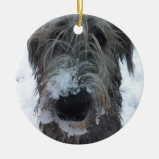 irish wolfhound playing in the snow ceramic ornament