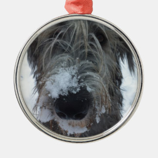 irish wolfhound playing in the snow metal ornament