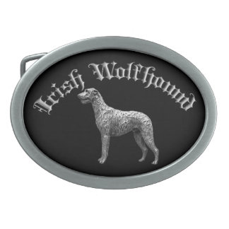 Irish Wolfhound Round Belt Buckle (Black/Silver)