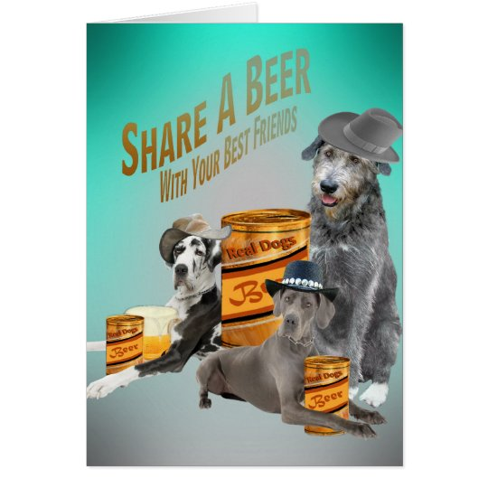 Irish Wolfhound Shares A Beer With Friends Cards