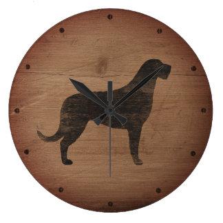 Irish Wolfhound Silhouette Rustic Large Clock