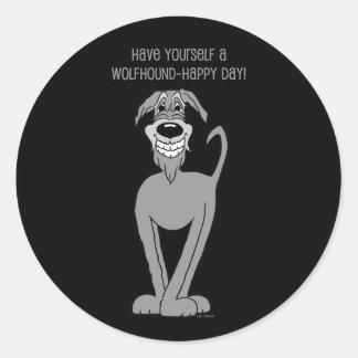 Irish Wolfhound Smile Classic Round Sticker