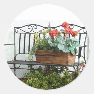 Iron Bench &  basket of Flowers. Classic Round Sticker