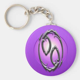 Iron Cancer Symbol, purple Keychain