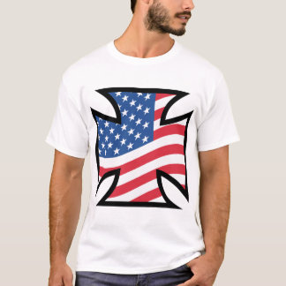 Iron Cross & American flag T-Shirt