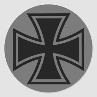 Iron Cross black grey Classic Round Sticker