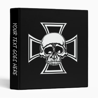 Iron Cross Military Emblem Skull Design by Beatty Vinyl Binder