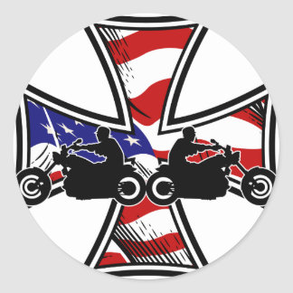 Iron Cross with American Flag and Bikers Round Sticker