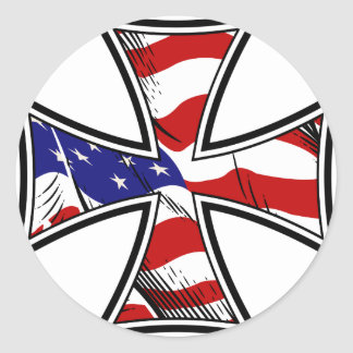Iron Cross with American Flag Round Sticker