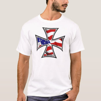 Iron Cross with American Flag T-Shirt