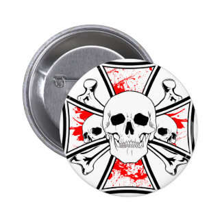 Iron Cross with Skulls and Cross Bones 2 Inch Round Button