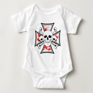 Iron Cross with Skulls and Cross Bones Baby Bodysuit