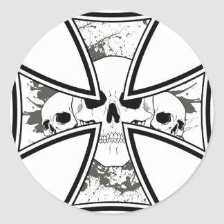 Iron Cross with Skulls Round Sticker