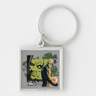 Iron Fist Comic Book Graphic Silver-Colored Square Keychain