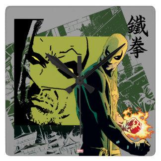 Iron Fist Comic Book Graphic Square Wall Clock