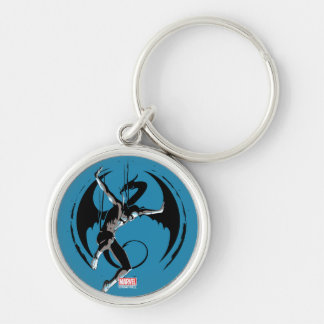 Iron Fist Dragon Landing Silver-Colored Round Keychain