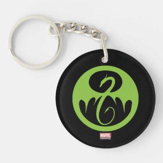 Iron Fist Logo - Green Double-Sided Round Acrylic Keychain