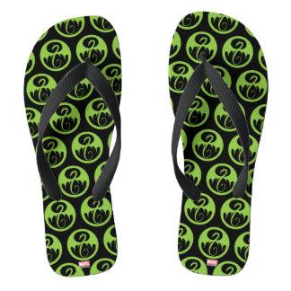 Iron Fist Logo - Green Flip Flops