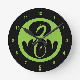Iron Fist Logo - Green Round Clock