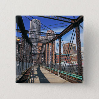 Iron footbridge with Boston Financial district 2 Inch Square Button