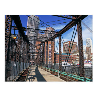 Iron footbridge with Boston Financial district Postcard