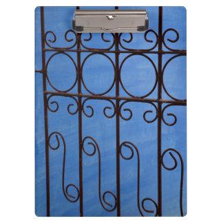 Iron gate pattern in blue, Cuba Clipboard