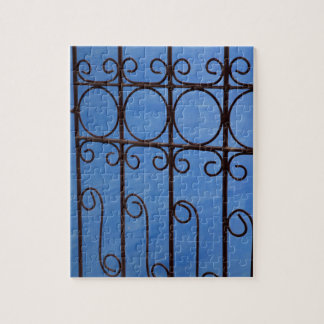 Iron gate pattern in blue, Cuba Puzzles