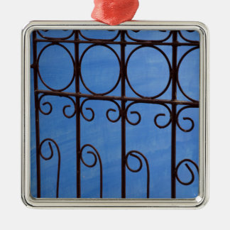 Iron gate pattern in blue, Cuba Silver-Colored Square Ornament
