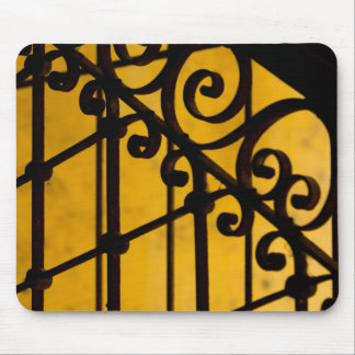 Iron gate pattern in yellow, Cuba Mouse Pad