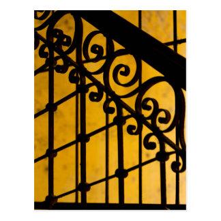 Iron gate pattern in yellow, Cuba Postcard