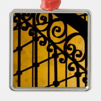 Iron gate pattern in yellow, Cuba Silver-Colored Square Ornament