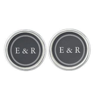 Iron Grille Grey with White Borders and Text Cufflinks