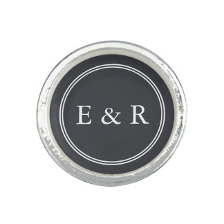 Iron Grille Grey with White Borders and Text Photo Ring