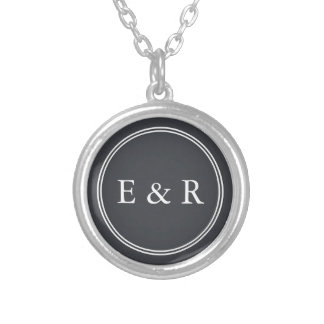 Iron Grille Grey with White Borders and Text Silver Plated Necklace