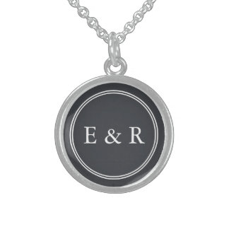 Iron Grille Grey with White Borders and Text Sterling Silver Necklace