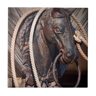 Iron Horse Hitching Post and Rope Ceramic Tiles