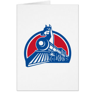 Iron Horse Locomotive Circle Retro Card